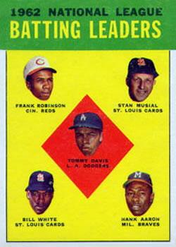 1963 Topps #1 NL Batting Leaders/Tommy Davis/Frank Robinson/Stan Musial/Hank Aaron/Bill White