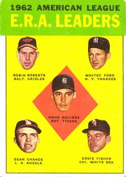 1963 Topps #6 AL ERA Leaders/Hank Aguirre/Robin Roberts/Whitey Ford/Eddie Fisher/Dean Chance