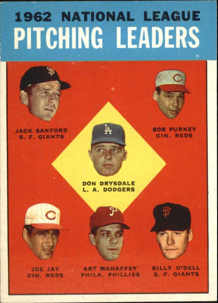 1963 Topps #7 NL Pitching Leaders/Don Drysdale/Jack Sanford/Bob Purkey/Billy O'Dell/Art Mahaffey/Joe Jay