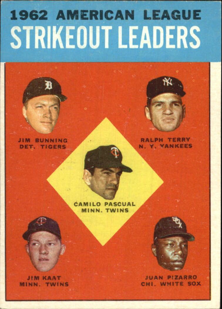 1963 Topps #10 AL Strikeout Leaders/Camilo Pascual/Jim Bunning/Ralph Terry/Juan Pizarro/Jim Kaat
