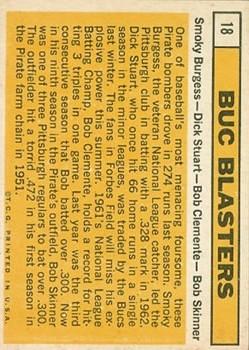 1963 Topps #18 Buc Blasters/Smoky Burgess/Dick Stuart/Bob Clemente/Bob Skinner back image