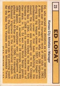 1963 Topps #23 Ed Lopat MG back image