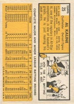 1963 Topps #25 Al Kaline back image