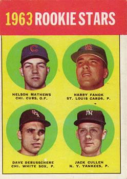 1963 Topps #54B Rookie Stars 1963/Nelson Mathews RC/Harry Fanok RC/Jack Cullen RC/Dave DeBusschere RC