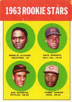 1963 Topps #158 Rookie Stars/Rogelio Alvares RC/Dave Roberts RC/Tommy Harper RC/Bob Saverine RC