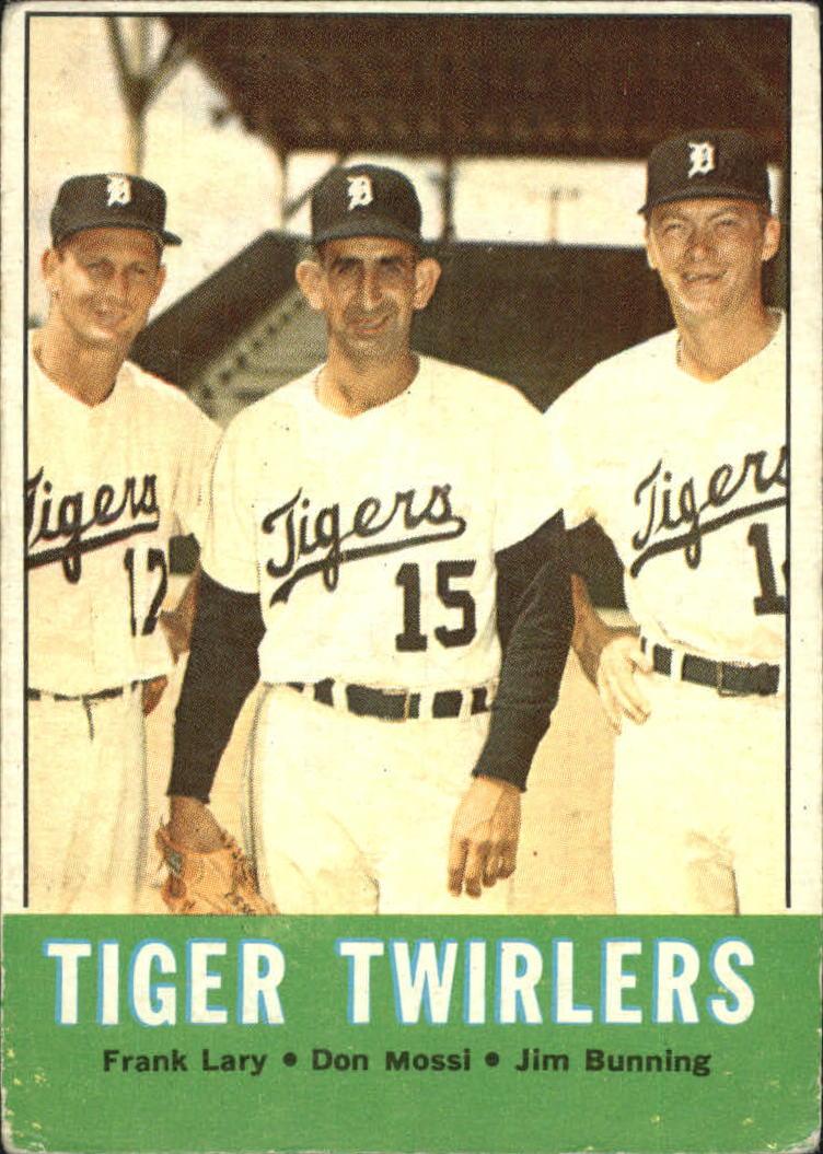 1963 Topps #218 Tiger Twirlers/Frank Lary/Don Mossi/Jim Bunning