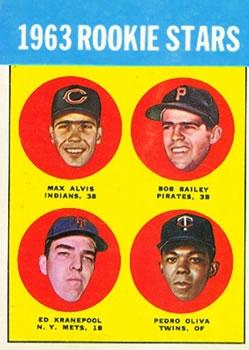1963 Topps #228 Rookie Stars/Max Alvis RC/Bob Bailey RC/Tony Oliva RC/Listed as Pedro/Ed Kranepool RC