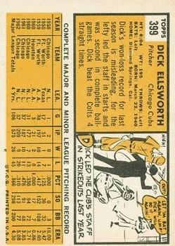 1963 Topps #399 Dick Ellsworth back image