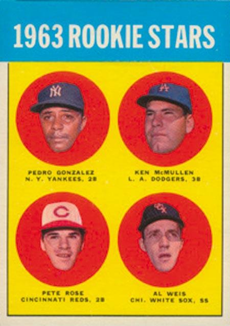 1963 Topps #537 Rookie Stars/Pedro Gonzalez RC/Ken McMullen RC/Al Weis RC/Pete Rose RC