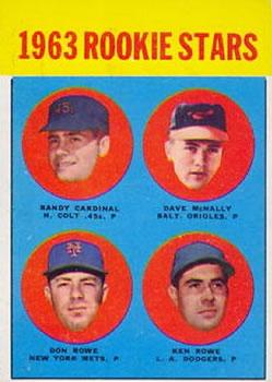 1963 Topps #562 Rookie Stars/Randy Cardinal RC/Dave McNally RC/Ken Rowe RC/Don Rowe RC