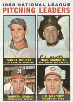 1964 Topps #3 NL Pitching Leaders/Sandy Koufax/Juan Marichal/Warren Spahn/Jim Maloney