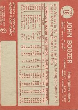 1964 Topps #16 John Boozer back image