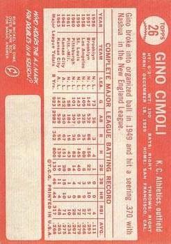 1964 Topps #26 Gino Cimoli back image