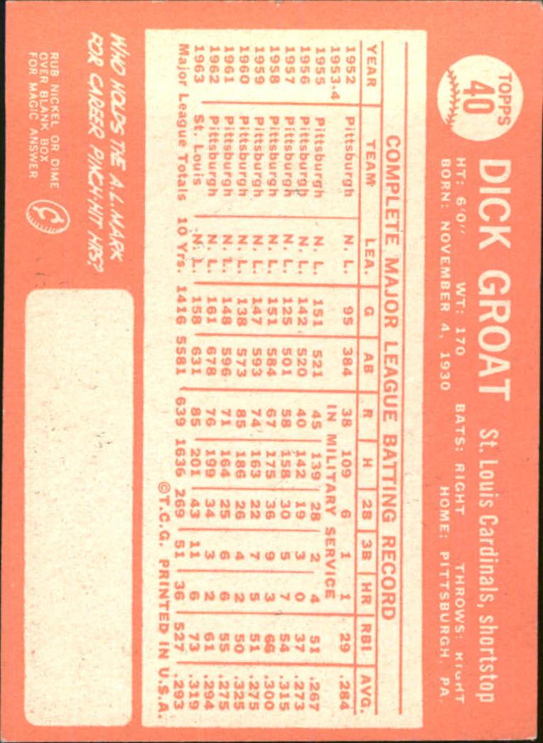 1964 Topps #40 Dick Groat back image