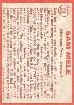 1964 Topps #54 Sam Mele MG back image