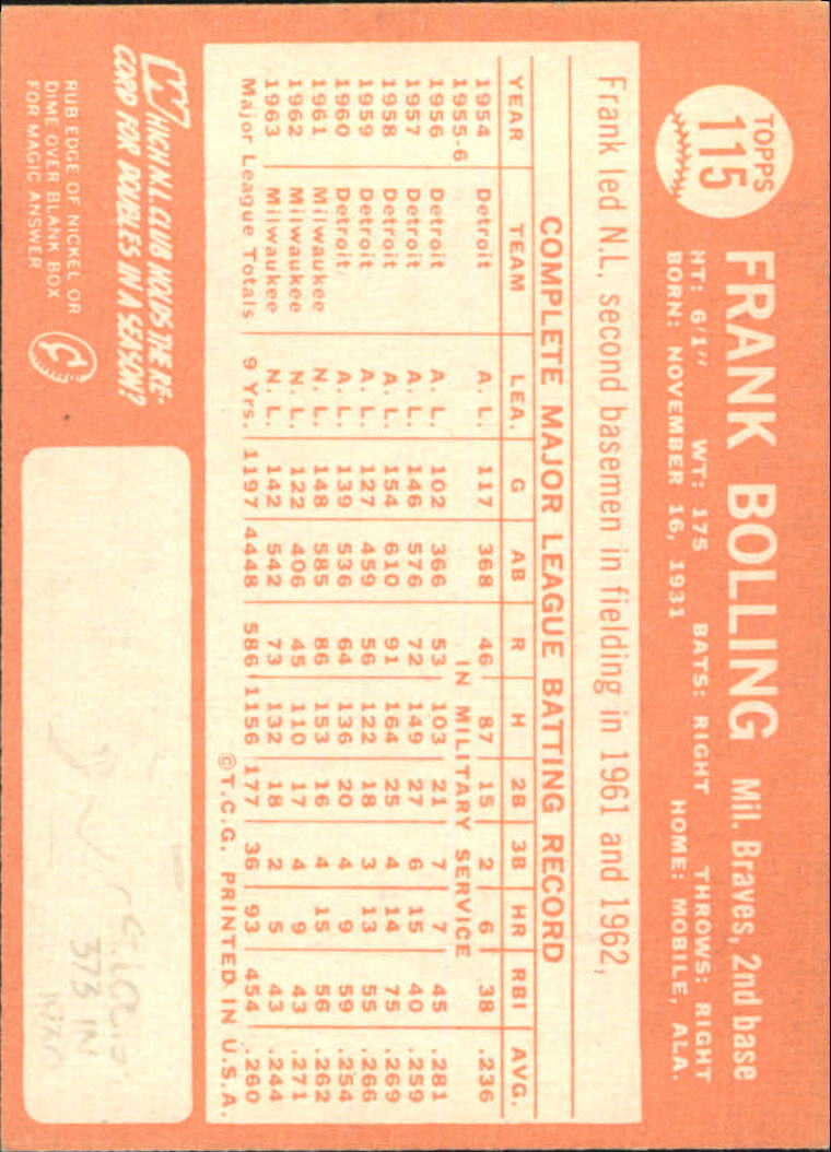 1964 Topps #115 Frank Bolling back image