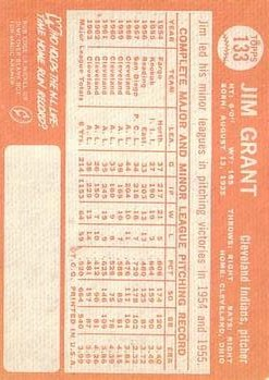 1964 Topps #133 Jim Grant back image