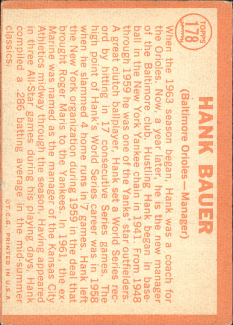 1964 Topps #178 Hank Bauer MG back image