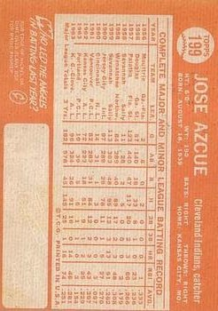 1964 Topps #199 Joe Azcue back image