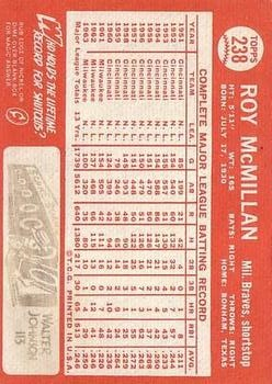 1964 Topps #238 Roy McMillan back image