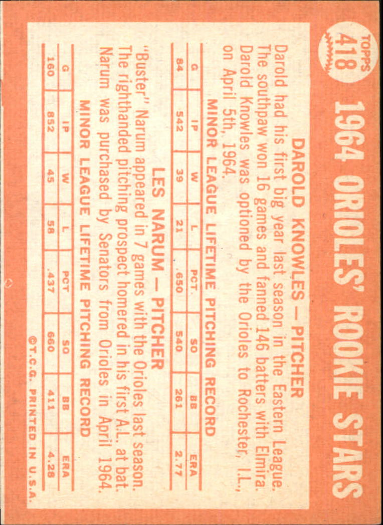 1964 Topps #418 Rookie Stars/Darold Knowles RC/Buster Narum RC back image