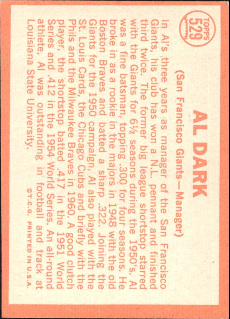 1964 Topps #529 Alvin Dark MG back image