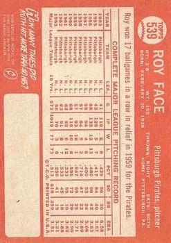 1964 Topps #539 Roy Face back image