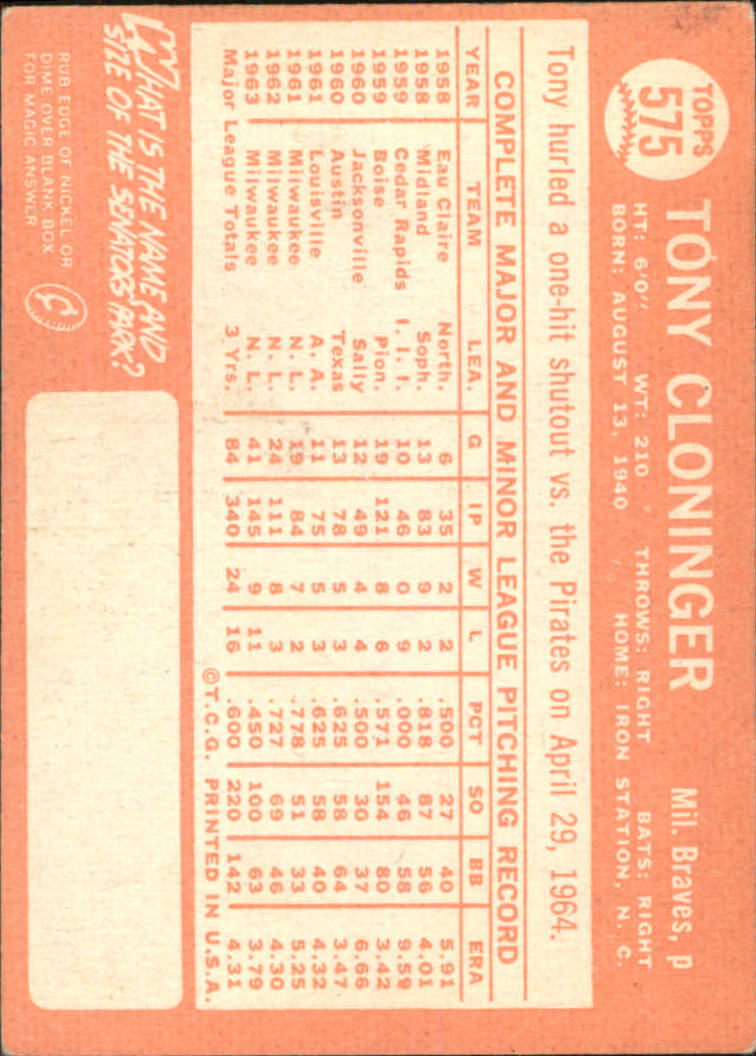 1964 Topps #575 Tony Cloninger back image