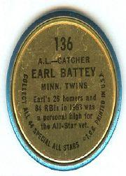 1964 Topps Coins #136 Earl Battey AS back image
