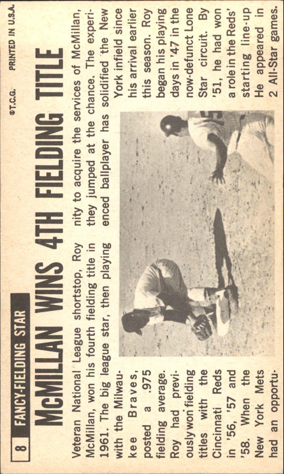 1964 Topps Giants #8 Roy McMillan back image