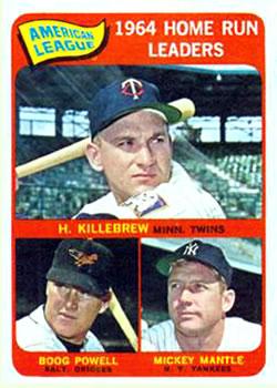 1965 Topps #3 AL Home Run Leaders/Harmon Killebrew/Mickey Mantle/Boog Powell