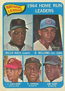 1965 Topps #4 NL Home Run Leaders/Willie Mays/Billy Williams/Jim Ray Hart/Orlando Cepeda/Johnny Callison