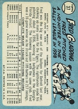 1965 Topps #37 Fred Gladding back image