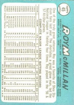 1965 Topps #45 Roy McMillan back image