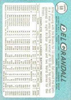1965 Topps #68 Del Crandall back image
