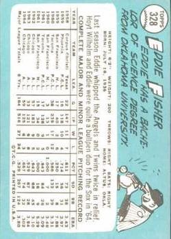 1965 Topps #328 Eddie Fisher back image