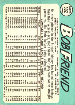 1965 Topps #392 Bob Friend back image
