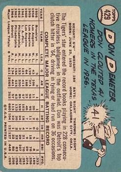 1965 Topps #429 Don Demeter back image