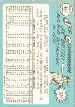1965 Topps #496 Joe Cunningham back image