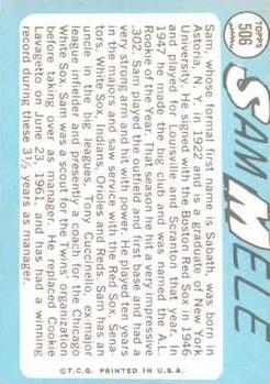 1965 Topps #506 Sam Mele MG back image