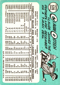 1965 Topps #570 Claude Osteen SP back image