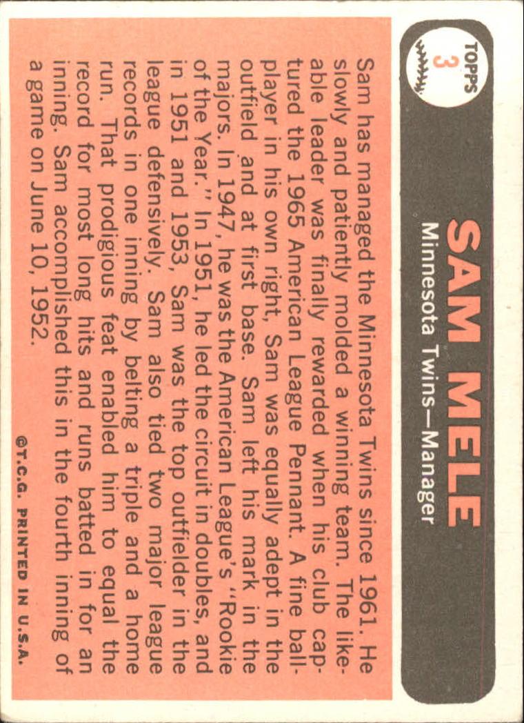 1966 Topps #3 Sam Mele MG back image