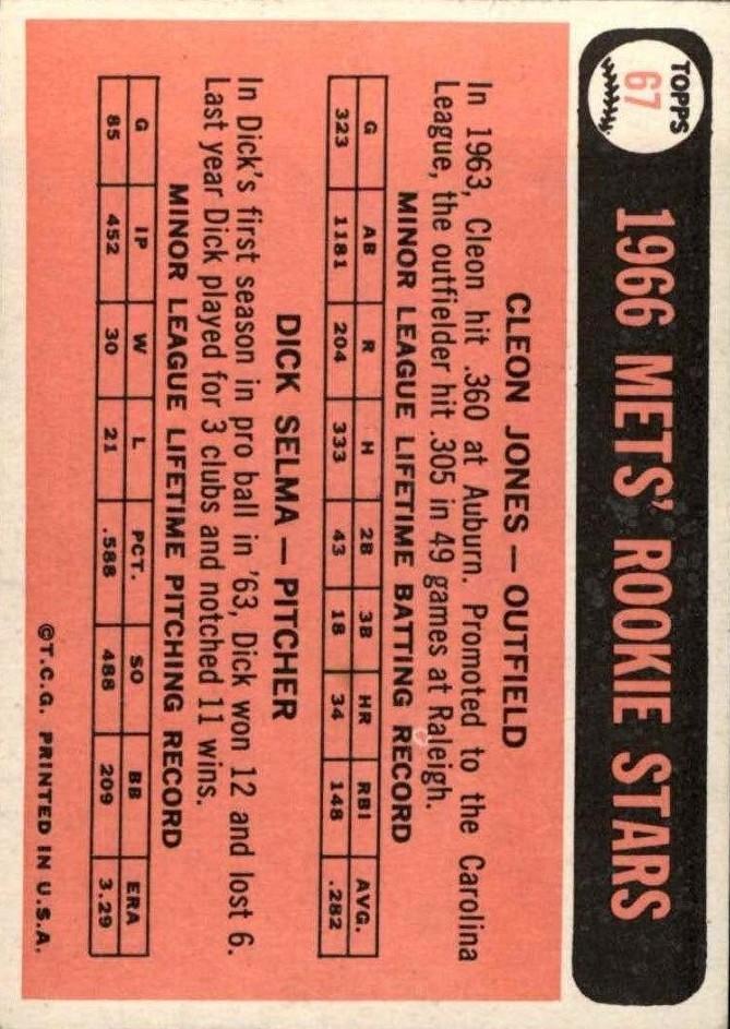 1966 Topps #67 Rookie Stars/Cleon Jones/Dick Selma RC back image