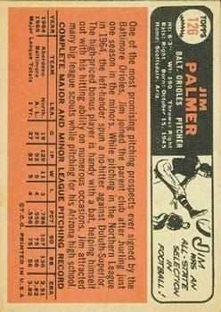 1966 Topps #126 Jim Palmer UER RC back image