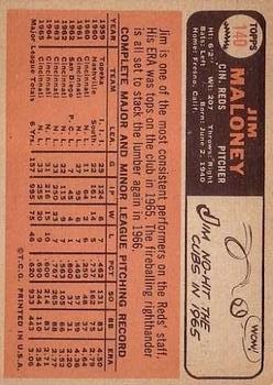 1966 Topps #140 Jim Maloney back image