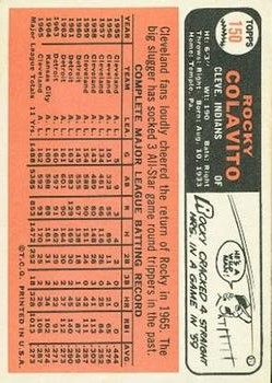 1966 Topps #150 Rocky Colavito back image