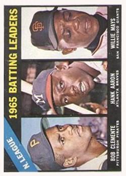 1966 Topps #215 NL Batting Leaders/Bob Clemente/Hank Aaron/Willie Mays