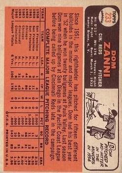 1966 Topps #233 Dom Zanni back image