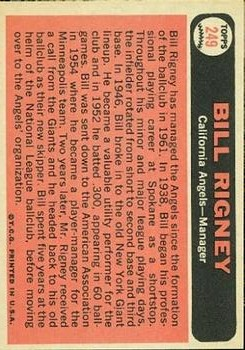 1966 Topps #249 Bill Rigney MG back image