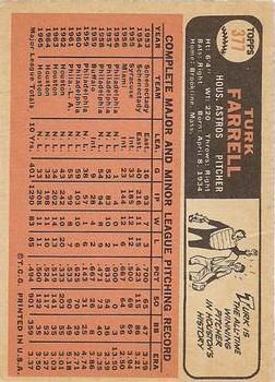 1966 Topps #377 Turk Farrell back image